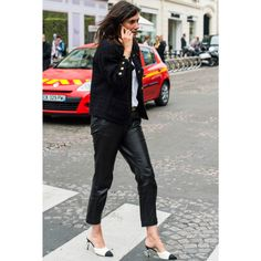 - Elevate a simple black and white ensemble with playful, feminine mules.  (Use my dolce shoes)