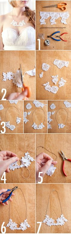 How-to tutorial for a lovely lace necklace like the one created for our Winter Inspiration photo shoot which was featured on the Style Me Pretty wedding blog!