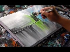 """Abstract painting on canvas / Acrylics / by Roxer Vidal"""" Acrylic Painting Tutorials, Painting Videos, Painting Lessons, Acrylic Art, Blue Painting, Diy Painting, Painting & Drawing, Painting Techniques, Abstract Art"""