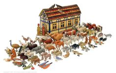 antique noah's ark | Noah's Ark Painted Wood And Figures, German, Late 1800'S | Vectis Toy ...