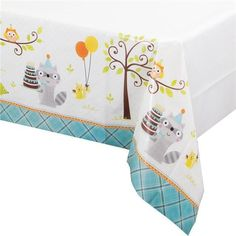 Happi Woodland Boy Party Plastic Tablecover (Owl/Racoon/Hedgehog/Squirrel)
