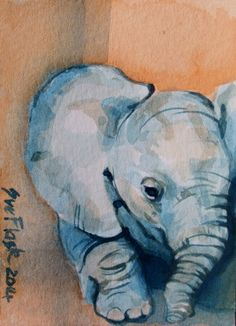 original ACEO painting... click on link and have a look around at all of my eBay listings... affordable originals... :) ACEO 2014 New Original Painting watercolour Animal - Baby Elephant by Sue Flask