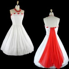 Red and white holiday party dress
