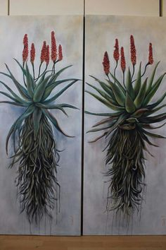Christelle Pretorius Art, oil on canvas, Aloes Protea Art, Botanical Drawings, Botanical Art, Art Floral, Cactus Painting, Painting Flowers, Art Corner, Abstract Canvas Art, Diy Arts And Crafts