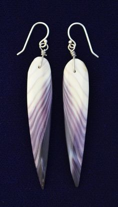 """""""Angel Wing"""" shaped earrings made out of Wampum"""