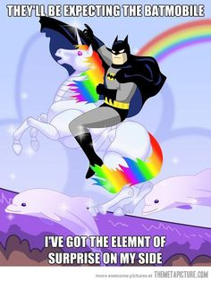 "I love that I was able to search ""Batman on a unicorn"" and actually found. Batman on a unicorn! Dc Memes, Funny Memes, Jokes, Lmfao Funny, That's Hilarious, Funny Qoutes, Movie Memes, Funniest Memes, Unicorn Mobile"