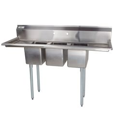 """Regency 16 Gauge Three Compartment Stainless Steel Commercial Sink with Two Drainboards - 58"""" Long, 10"""" x 14"""" x 10"""" Compartments"""
