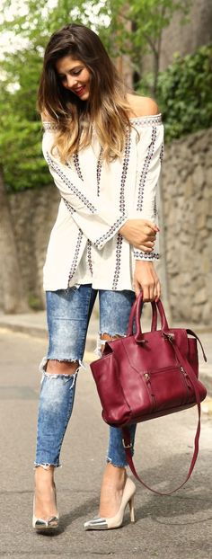 Girly Boho Outfit Idea by TrendyTaste. Live everything but the shoes. As a mom of a toddler, there is no way i can wear those