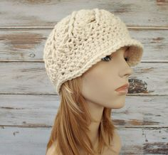 Womens Hat Cream Newsboy Hat - Pippa Swirl Crochet Newsboy Hat Cream Crochet Hat - Cream Hat Cream Beanie Womens Accessories - Ready To Ship by pixiebell on Etsy