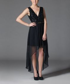 Take a look at this Soie Shop Black Chiffon Sequin Belted Hi-Low Dress on zulily today!