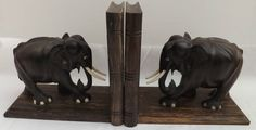 Vintage Hand Carved ebony Elephant Bookends DoveTailed  Fabulous look and feel