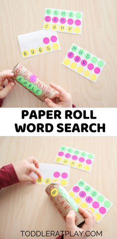 Kids will love this Paper Roll Word Search Activity because it's fun, unique and uses dot stickers! Who's kids love dot stickers? Preschool Writing, Preschool Learning Activities, Spring Activities, Language Activities, Toddler Activities, Preschool Activities, Kids Learning, Preschool Age, Reading Activities