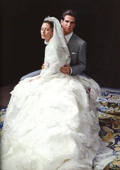 July 1, 1995 - Wedding of Crown Prince Pavlos & Crown Princess Marie-Chantal of Greece in Valentino wedding gown