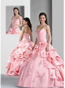 Sweet ball gown straps floor-length taffeta appliques quinceanera dress, Discount Quinceanera Dresses