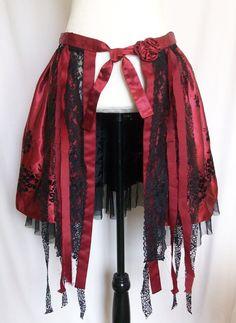 hip skirt, wrap skirt, festival, capelet, cape, poncho, red, victorian, goth, black lace, feminine c