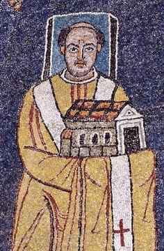 Basilica Santa Prassede, Roma. I mosaici nello stile bizantino. 817-826. Il periodo dei Carolingi. Il Papa Pasquale I
