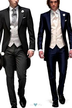 Modern and vintage variations of the evening tailsuit. Morning suit with tailcoat, a formal and vintage look. Modern variation of the evening tail suit in dark navy blue and ivory by OnGala. Tuxedo Wedding, Wedding Men, Wedding Suits, Wedding Attire, Groomsmen Suits, Groom Attire, Mens Suits, Groom Tuxedo, Tuxedo Suit