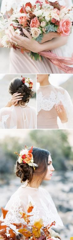 A bohemian chic bridal shoot from a fine art wedding photographer in the Utah desert with a vintage lace cape and vivid fall florals and foliage! Winter Wedding Flowers, Fall Wedding Colors, Wedding Color Schemes, Floral Wedding, Spring Wedding, Whimsical Wedding, Autumn Wedding, Garden Wedding, Fine Art Wedding Photography