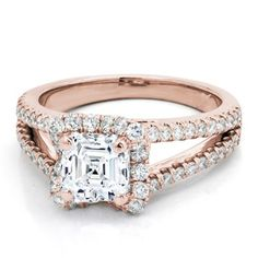 V Halo Engagement Ring For Square Diamon in Rose Gold - R2950