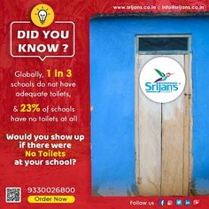 Would you show up if there were no toilets at your school? Globally, 1 in 3 schools do not have adequate toilets, and 23% of schools have no toilets at all. #didyouknow #facts #fact #knowledge #didyouknowfacts #dailyfacts #factsdaily #funfacts #knowledgeispower #amazingfacts #interestingfacts #generalknowledge #factz #science #instafacts #truefacts #factsoflife #india #doyouknow #allfacts #sciencefacts #education #gk #instagram #realfacts #factoftheday #didyouknowthat #sanitaryware… Real Facts, True Facts, Fact Of The Day, Daily Facts, Did You Know Facts, Science Facts, Knowledge Is Power, Toilets, Schools