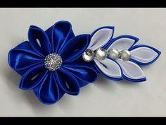 DIY Kanzashi flower hairclip,how to make, kanzashi flower tutorial,kanzashi flores de cinta - YouTube