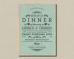 Printable Wedding Rehearsal and Dinner Invitation - Vintage Poster Layout Antique Green (RD28)