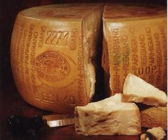 #ParmigianoReggiano DOP  The #Parmesan cheese is a hard cheese, cooked, made with raw partially skimmedcow milk. The shape is cylindrical, the diameter of the shape varies from 35 to 45 cm, the height of barefoot from 20 to 26 cm; the minimum weight of a form is equal to 30 kg. It can be seasoned 18 - 24 or 30 months.
