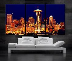 "LARGE 30""x 60"" 3 Panels Art Canvas Print Seattle Washington Skyline at night Downtown Wall Home office decor interior (framed 1.5"" depth)"
