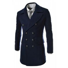 Fashion Style Turndown Collar Slit Back Design Woolen Long Sleeves Pea Coat For Men (NAVY,2XL) | Everbuying.com
