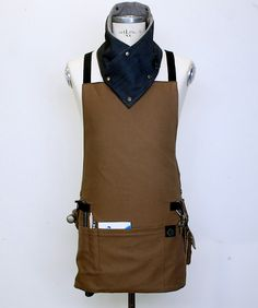 Cyber Monday SALE Basic Cross Back Utility Apron in Brown with Water Resist Lining. $125.00, via Etsy.