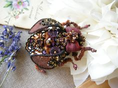 Woodland beetle Brooch Insect jewelry Velvet brooch Brown Burgundy beetle Beaded brooch Forest jewelry Embroidered bug Woodland wedding