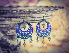 Hand Painted Turquoise Ombre Bronze Filigree & Crystal Earrings [E32] by BourneBling on Etsy