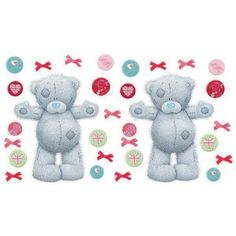 """30 Tatty Teddy Wall Decals. Decorate walls and furniture with 2 huge, huggable Tatty Teddy wall decals, and accessories decals up to 15"""" tall. - 30 pre-cut room decals - Re-positionable and cleanly re"""
