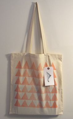 Peaks hand printed cotton tote bag orange by Patternalism on Etsy, £8.00