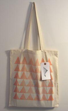 Peaks  hand printed cotton tote bag orange by Patternalism on Etsy, £8.00