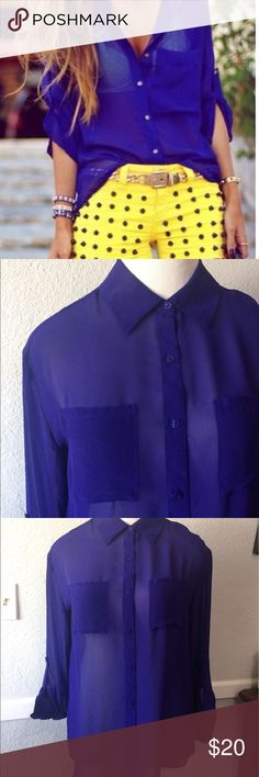 Sheer Royal Purple Button Up Blouse Medium Sexy Like new. Sleeves can be long or buttoned up 3/4. Two front pockets. Super cute over a Tank or bandeau. Decree Tops Blouses