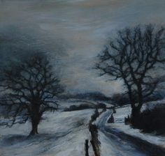 Soon air-frosts haze snow-covered shires. Scalby near Scarborough, North Yorkshire, England. Oil painting on board by Sue Lawson