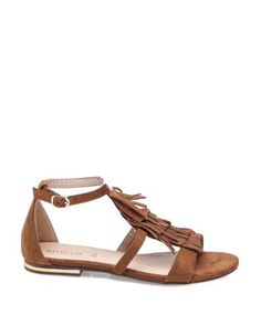 Vitello Taba Püsküllü Düz Sandalet #sandalet #düzsandalet #bantlısandalet #sandals #fashion #trend #style #look #moda #2016modası #derisandalet