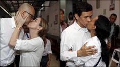 - JUSTISMORD: Den britisk-kanadiske læreren Neil Bantleman og den indonesiske læreren Ferdinant Tjiong ble denne uka dømt til ti års fengsel for seksuelle overgrep mot tre unge gutter. Her blir de kysset av sine koner som møtte dem i retten i Indonesia. Foto: Reuters/NTB Scanpix