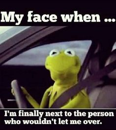 Kermit the Frog Face Finally Next to the Person Who Wouldn't Let Me Over Driving  ---- best hilarious jokes funny pictures walmart humor fail