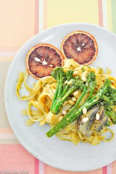 Fettucini with Pumpkin Blood Orange Alfredo Sauce ------------------------------------------------ Plant Based Diet, Plant Based Recipes, Vegan Pumpkin, Alfredo Sauce, Blood Orange, Beets, Side Dishes, Food Photography, Vegan Recipes