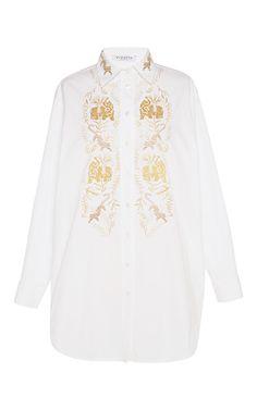 Cotton embroidered tolstoj shirtdress  by VIVETTA Now Available on Moda Operandi