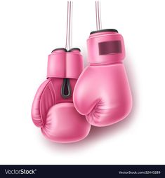 Pink pair of boxing glove on lace realistic vector image on VectorStock Breast Cancer Art, Breast Cancer Awareness, Boxing Girl, Boxing Boxing, Cancer Survivor Party, Academia Fitness, Pink October, Kickboxing Workout, Sketch A Day