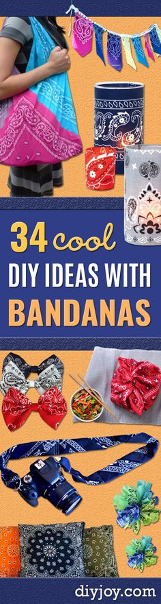 DIY Ideas with Bandanas – Bandana Crafts and Decorations with a Bandana … - My Sewing Projects Upcycled Crafts, Sewing Crafts, Teen Projects, Sewing Projects For Beginners, Bags For Teens, Crafts For Teens, Sewing For Kids, Diy For Kids, Sewing Ideas