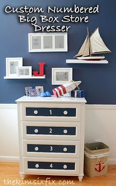 stor rabatt discount store Customizing a Discount Store Dresser. painting an MDF dresser from Target Nautical Bedroom, Nautical Home, Repurposed Furniture, Painted Furniture, Refurbished Furniture, Furniture Projects, Diy Furniture, Diy Projects, Project Ideas