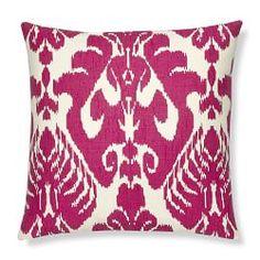 Silk Ikat Medallion Lumbar Pillow Cover, Rasberry