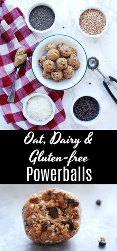 Gluten, Dairy & Oat-free Energy Balls oat, dairy & gluten-free power balls recipe by allergyawesomeness Dairy Free Snacks, Gluten Free Oats, Gluten Free Desserts, Vegan Snacks, Snack Recipes, Healthy Recipes, Healthy Snacks, Paleo Sweets, Yummy Recipes