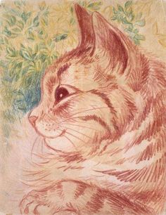 Cat's Head with leafy background | Louis Wain