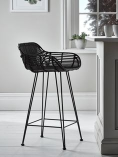 Flat Rattan High Stool – Black – Kitchen & Dressing Table Stools – Luxury Seating – Luxury Home Furniture - High Stool, Rattan Counter Stools, Black Bar Stools, Furniture, Rattan Stool, Dressing Table With Stool, Luxury Seating, Dining Room Furniture Modern, Luxury Home Furniture