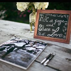 Chalkboard sign for our wedding guest book